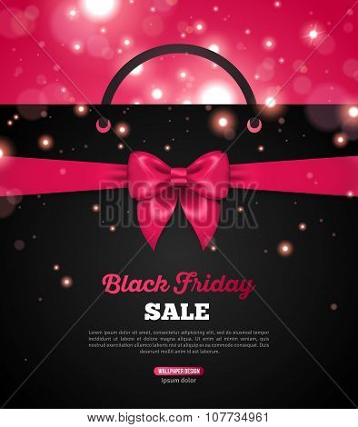 Black Friday Creative Banner with Shopping Bag