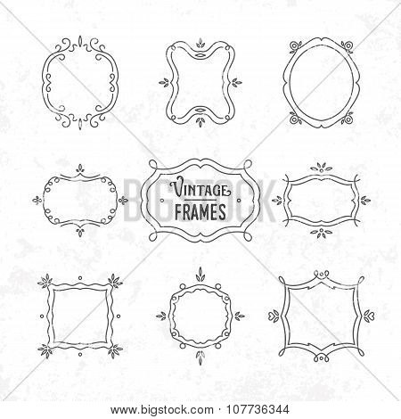 Set Of 9 Cute Vintage Frames Of Different Orientations And Formats For Your Designs