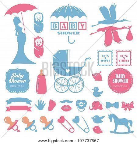 Baby shower design elements vector set. Pregnancy, breast feeding, children toys theme vintage colle