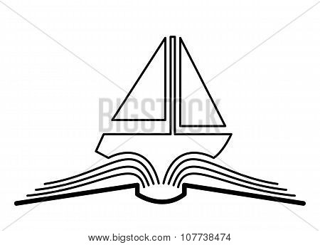 The concept of the book pages and yacht.
