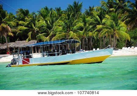 Adventure Boat For Scuba Diving Near The Beach On Soana Island