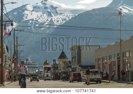 Skagway, Alaska, Usa - July 12, 2011 - Main Shopping District In The Small Town Of Skagway.