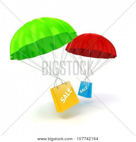 3d parachute and shopping bag poster
