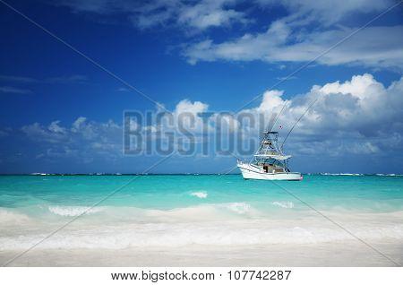Sailing Yacht Near Beautiful Tropical Beach