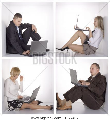 Businesspeople On The Wireless Lan