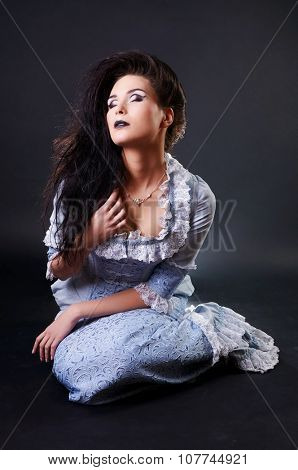 portrait of vampire woman aristocrat with stage makeup