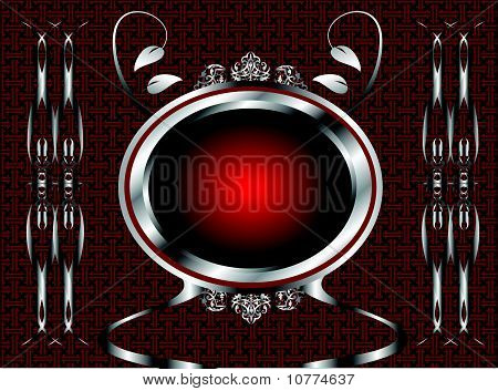 Red and silver floral background
