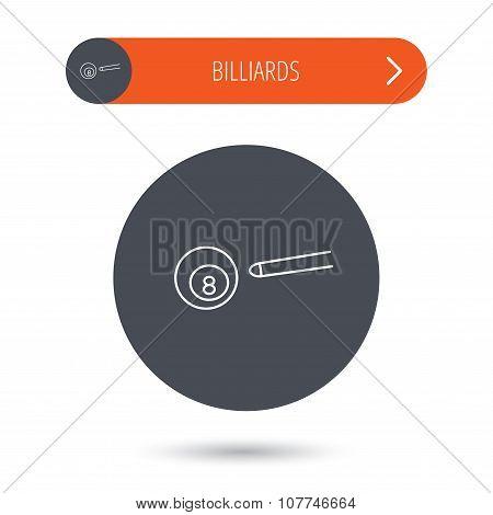 Billiard ball icon. Cue sports sign.
