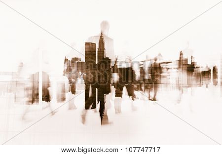 Business People Walking on a City Scape Concept