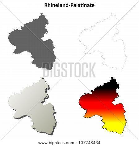 Rhineland-Palatinate blank outline map set