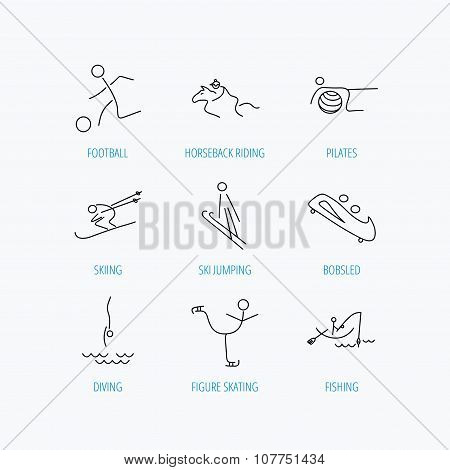 Pilates, football and skiing icons. Fishing, diving and figure skating linear signs. Ski jumping, horseback riding and bobsled icons. Linear set icons on white background. poster