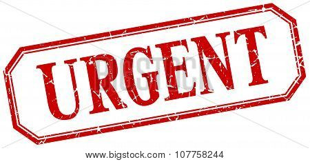 Urgent Square Red Grunge Vintage Isolated Label