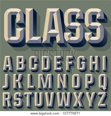 Vector illustration of old school beveled alphabet. Simple colored version. Alphabet