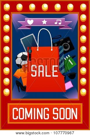 Illustration of a Colorful Poster Announcing an Upcoming Sale