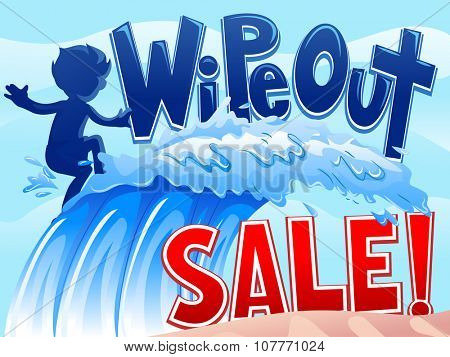 Illustration of a Little Boy Riding Waves with the Words Wipe Out Sale Written on Top