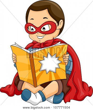 Illustration of a Little Boy Dressed as a Superhero Reading a Comic Book