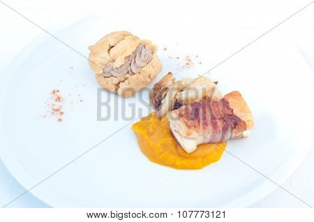 Typical Italian appetizer with liver pate and bacon poster