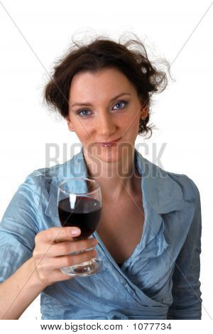 Girl With Cup Of Red Wine