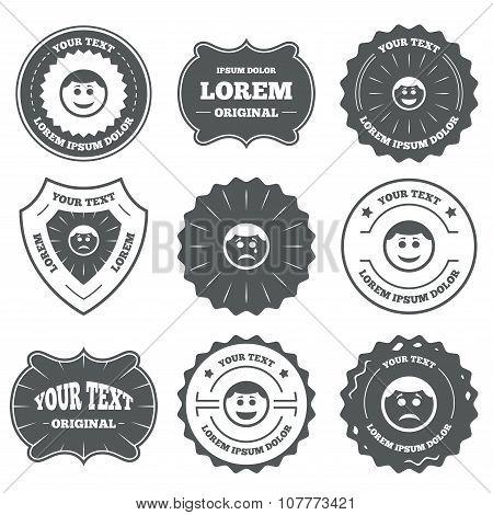 Circle smile face icons. Happy, sad, cry.