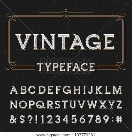 Vintage alphabet vector font with distressed overlay texture.
