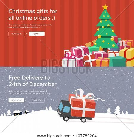 Christmas website banners - Christmas tree with gifts & Free delivery. Online shopping concept.