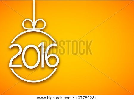 2016 New Year sign on yellow background. Vector paper illustration.