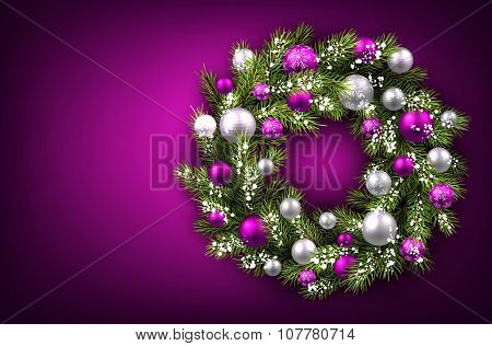 Purple background with Christmas wreath. Vector illustration.