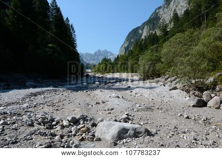 Wimbachtal Valley In Alps In Germany