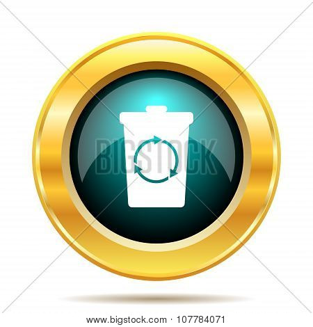 Recycle bin icon. Internet button on white background. poster