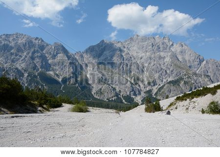 Talus And Peaks In Wimbachtal Valley In Alps In Germany