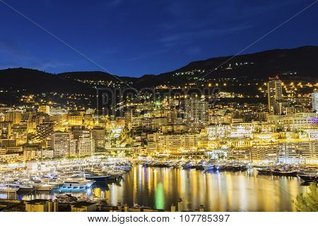 View On Monte Carlo In Monaco In The Evening