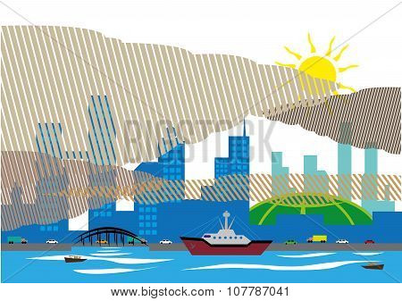 Haze over a city and seaport that affects southern asian countries due to forest fires. Editable Clip Art. poster