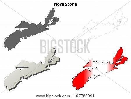 Nova Scotia blank outline map set