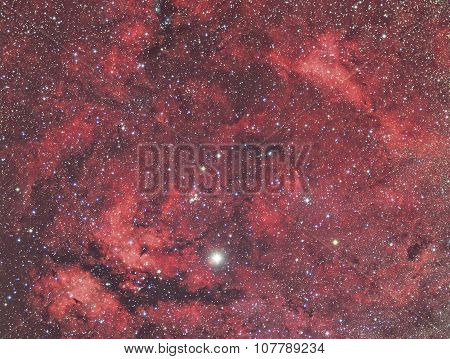 Sadr and Nebula in constellation Cygnus