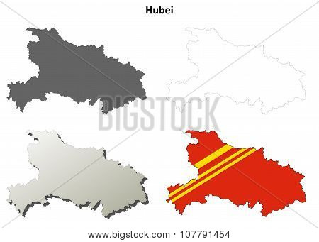 Hubei blank outline map set