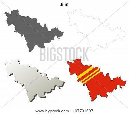 Jilin blank outline map set