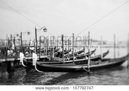 Tilt Shift Photo Of Gondola In Venice