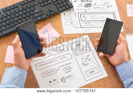 Designer working at new mobile applications