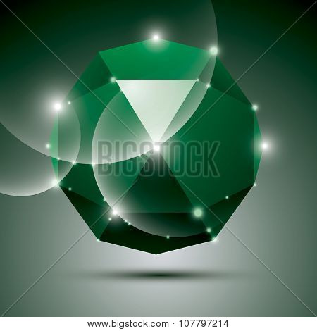 Party 3D Green Shiny Disco Ball. Vector Fractal Dazzling Abstract Illustration - Eps10 Jewel. Gala T