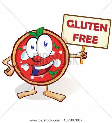 fun pizza cartoon with gluten free signboard poster