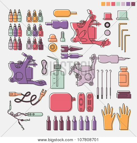 Tattoo kit and colorful equipment.