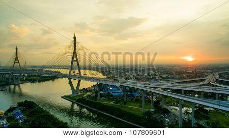 Aerial View Of Bhumiphol Bridge Crossing Chaopraya River Important Modern Landmark Of Bangkok Thaila
