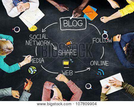 Blog Blogging Co?munication Connect Data Social Concept