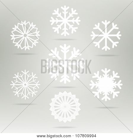 Snowflakes Set Vector Icons