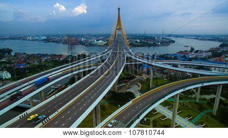 Aerial View Of Bhumiphol Bridge Crossing Chaopraya River  Important Modern Landmark Of Bangkok Thail