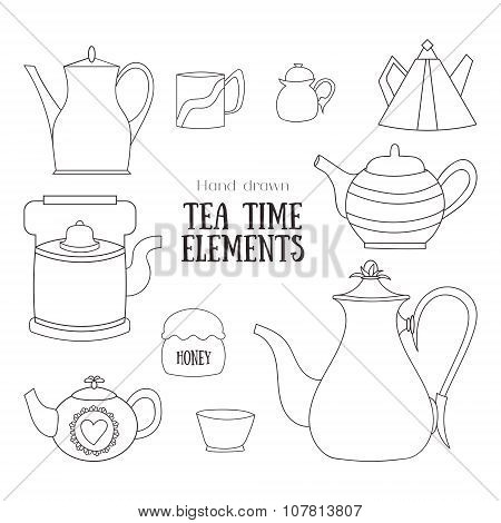 Hand Drawn Tea Time Elements