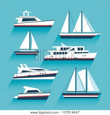Set Of Yachts And Maritime Transport