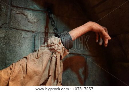 USA, WASHINGTON -?? 31 AUG, 2014: Close up view of the hand with shackles at National Museum of Crime and Punishment.