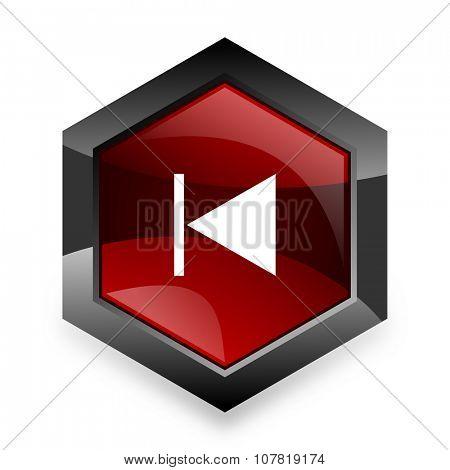prev red hexagon 3d modern design icon on white background