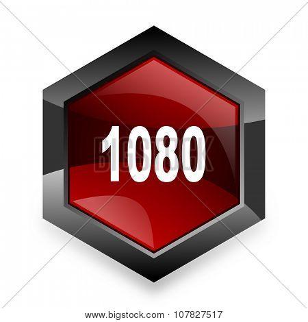 1080 red hexagon 3d modern design icon on white background
